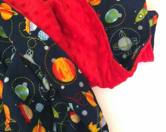 Navy and red space themed blanket