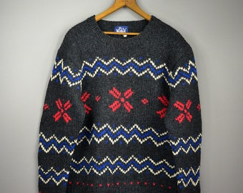 Charcoal Grey Woolrich Heavyweight Wool Sweater // Cozy Oversize Sweater With Bold Pattern //  Size L