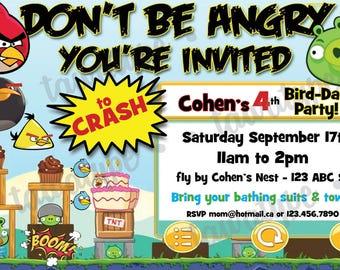 Angry Birds Birthday Personalized Invitation