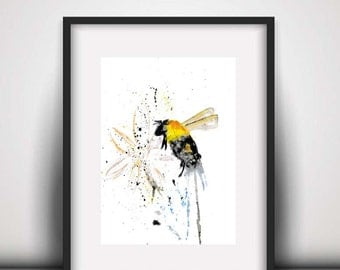 SALE Bee PRINT, Bee nursery decor, nursery print, nursery art, watercolour print, bee, new baby gift, bumble bee print, wildlife print