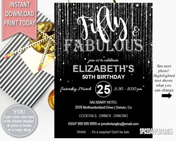Fifty and fabulous birthday invitation 50th birthday birthday il570xn filmwisefo Choice Image