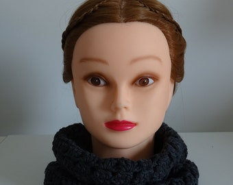 Charcoal Gray Infinity Scarf Cowl Crochet 100% Cotton