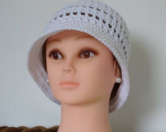 White Summer Hat Crochet 100% Cotton Hand made