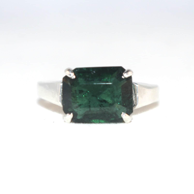 Emerald Cut Tourmaline Ring