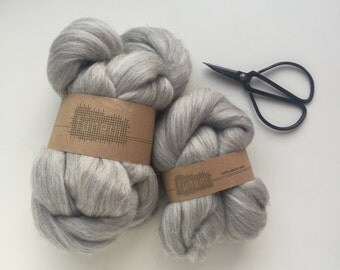 Grey Melange Merino Wool Roving Undyed