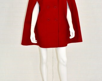 1960s Vintage Women's S Sears Roebuck & Co. Bright Red Wool Double Breasted Cape