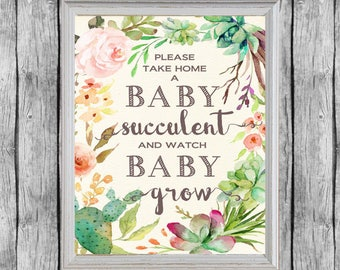 Baby Shower Succulent Favors Sign 8x10, Digital File, Instant Download. Succulent Favors Baby Shower Sign. Baby Shower Favors.