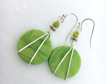 Boho Earrings, Clay Earrings, Lime Green Earrings, Dangle Earrings, Hippie Earrings