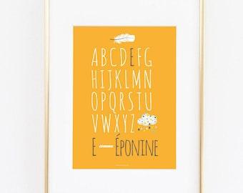 Affiche personnalisée avec prénom de votre enfant abécédaire décoration chambre bébé cadeaux de naissance personnalisé nuage plume moutarde