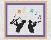 Jazz music cross stitch pattern, printable musician silhouette chart, saxophone, trumpet, rainbow, musical notes, easy PDF, instant download