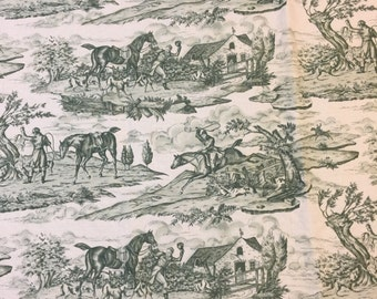 Vintage Scalamandre Fabric. 1/2 yd. Scalamandre Upholstery Fabric. Vintage Toile Fabric Green. Hunting Fabric. Toile Upholstery Fabric.