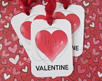 Valentine Tags-My Valentine-Set of 6