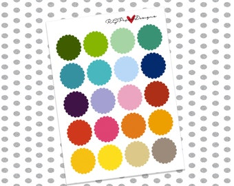 Scalloped Circles, Multi colored Blank Labels (20 Stickers)// Erin Condren Life Planner, Happy Planner, Filofax, Plum Planner, & more!
