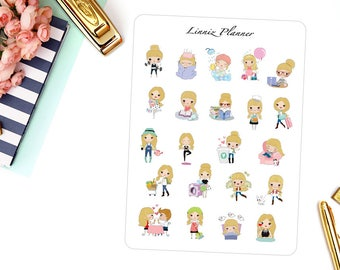 Sampler Sheet Elsa | Girl (matte planner stickers, perfect for planners)