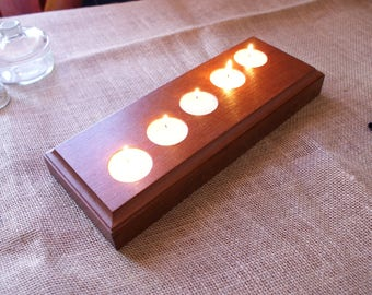 Red Wood Candle Holders - 5 Tea Lights - Minimalist Design Candle Holder