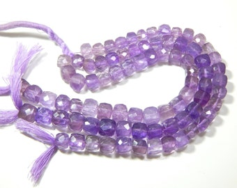 Pink Amethyst 3D Cube Faceted Beads Box Shape 100% Natural Gemstone Size 8.mm Approx