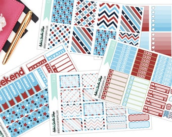 A La Carte Red White and Blue Memorial Day or Fourth of July Weekly Kit for ECLP Vertical Planner Stickers