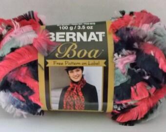 Bernat Boa Yarn ~ 100 Grams ~ 129 Yards ~ Pink Poodle ~ # 5 Bulky ~ 129 Yards