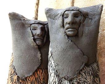 Sardinian Mamuthones wind chime ceramic sculpture