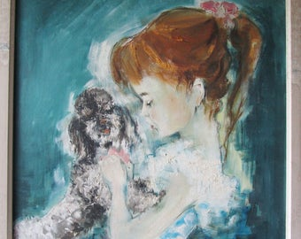 Vintage oil painting child with poodle young girl Art animal Foujita Style impressionism  60' s
