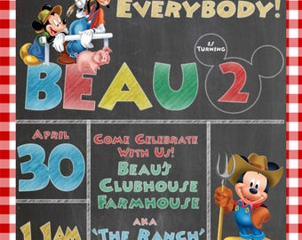 Mickey Mouse Farm Print your Own Invitation Digital File
