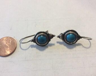 Vintage sterling silver turquoise earrings bacn
