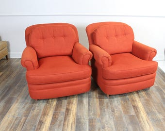Pair of Vintage over size lounge chairs Burnt orange