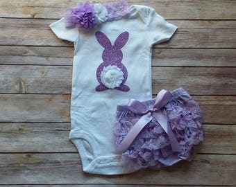 Girls Easter Outfit, CUSTOMIZE, Bunny outfit, Purple, Girls birthday outfit, Cake smash, photo prop, bloomers