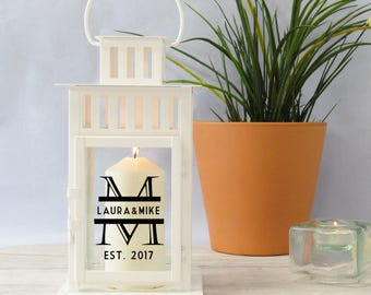 Monogrammed Personalised Lantern, Candle Lantern, Decorative Lantern