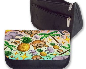 Emoji MONKEYS and PINEAPPLES pencil case / Make-up bag