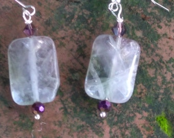 Amethyst-Purple-Crystal-Earrings FREE domestic SHIPPING