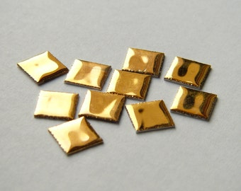 10 Miniature Tiles - golden surface -  5/12 x 5/12 inch