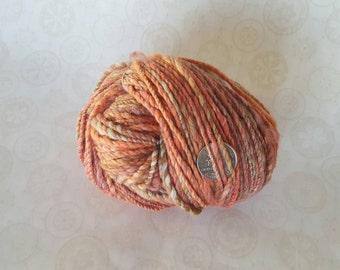 "Handspun Yarn Merino / Silk - ""Desert Mallow"" Peach / Orange / Green"