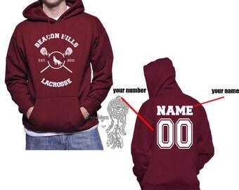 Custom back WL Beacon Hills Lacrosse on Unisex Hoodie Sweatshirt Color Maroon