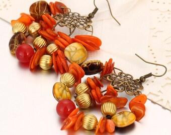 Natural Stone hoop Earrings, Boho Hoop Earrings, Beads earrings summer, Beads Agate earrings, Hoop earrings Natural Stone, Summer earrings