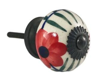 Big Red Daisy Flower Decorative Dresser Drawer, Cabinet, Door Ceramic Knob Pull - M101