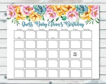 Printable Baby Shower Prediction Calendar, Guess Baby Birthday, Floral Prediction Calendar, Baby Due Date Calendar, Guess The Baby Birth