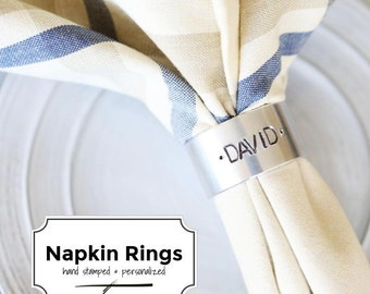 the NAPKIN RING (set of 4)- Personalized & Hand Stamped