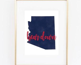 University of Arizona Bear Down Watercolor State Printable (8x10)