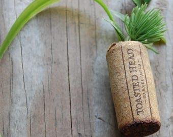 Botanical Wine Cork Magnet Evergreen Vine and Grass on Toasted Head Wine Cork