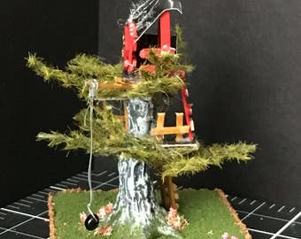 1/144 inch Miniature Treehouse with kite and swing.