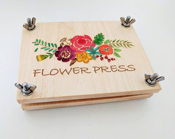 Flower press kit - Floral pyrography - wooden flower press - handmade maple flower press - spring gift - homeschooling - botanical press