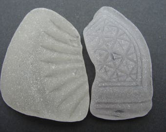 2 Nice Patterned Pieces Sea Glass  English Sea Glass Artifact.