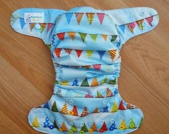 Pennants cloth diaper - AIO cloth diaper - onesize cloth diaper - hemp bamboo diaper - party diaper - 1st birthday - wahm - first bday photo