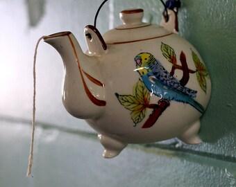 Hanging Ceramic Teapot Bird String/Twine/Rope Holder