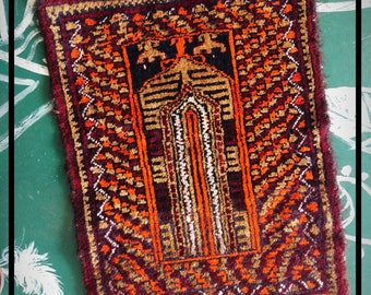 Small Handwoven Antique Anatolian Turkish Prayer Rug