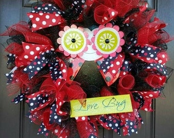 Ladybug Wreath, Spring Deco Mesh Wreath, Ladybug Deco Mesh, Door Decor, Spring Wreath