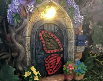 Miniature Solar Powered Fairy Door - Butterfly
