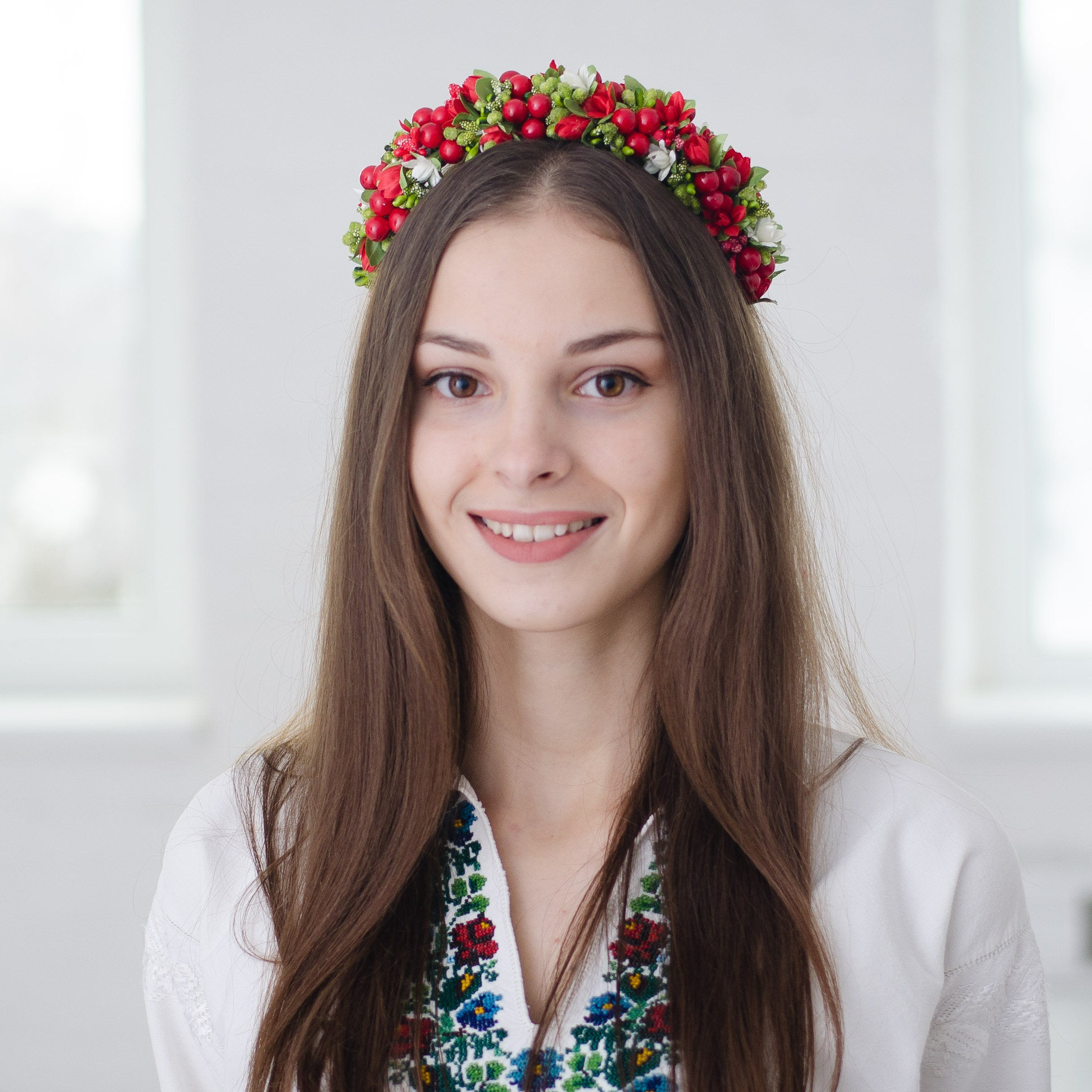 Vinok rose flower crown ukrainian headband red roses request a custom order and have something made just for you izmirmasajfo