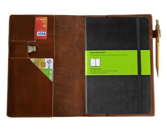 A5 Leather Journal Cover Business Style Notebook Cover With Card Usb Slots Hobonichi Moleskine Cover - Brown Leather